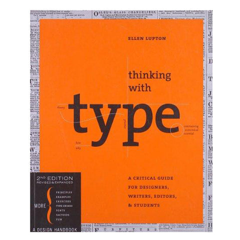 Vibrant orange book cover with boarder of grayscale newspaper print. Title information is bisected with schematic information about type features