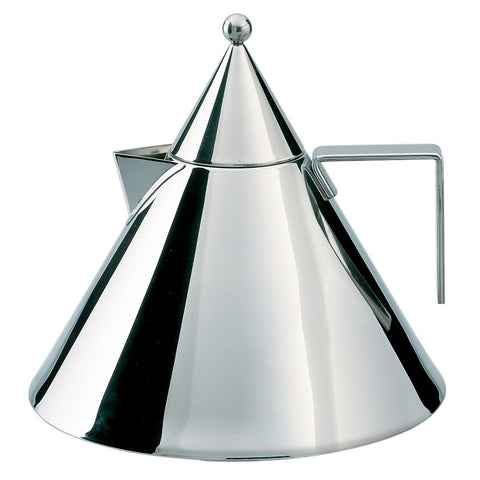 Side view of mirror-polished, triangle-shaped kettle with beak-shaped spout, sphere topper, and u-shaped handle.