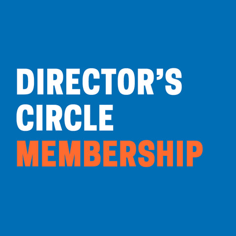 "Blue background with ""Director's Circle Membership"" in white and orange text."