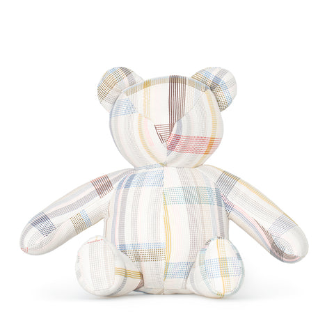 Pastel colored plaid teddy bear