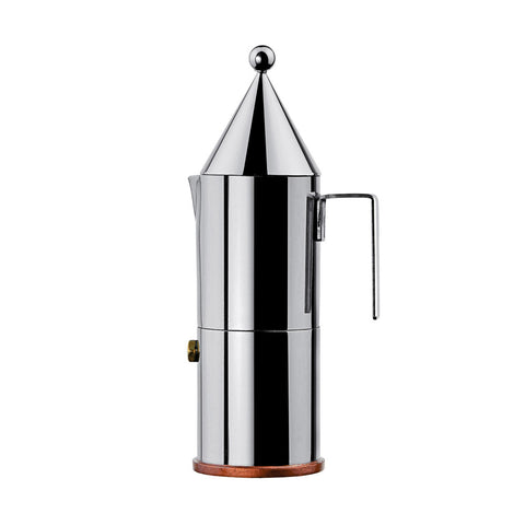 Side view of cylindrical, mirror-polished, espresso coffee maker with cone-shaped lid topped with a sphere and u-shaped handle on white background.