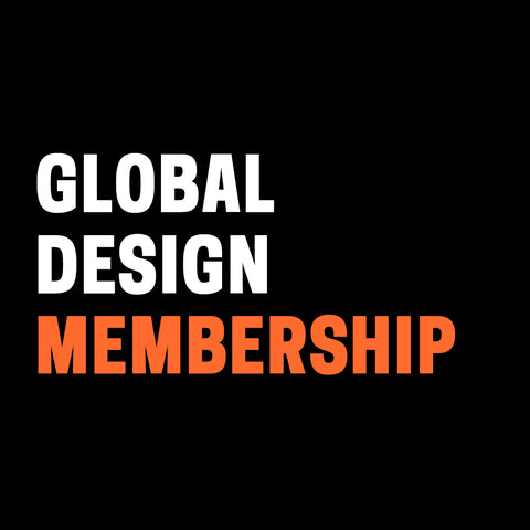 "Black background with ""Global Design Membership"" in white and orange text."