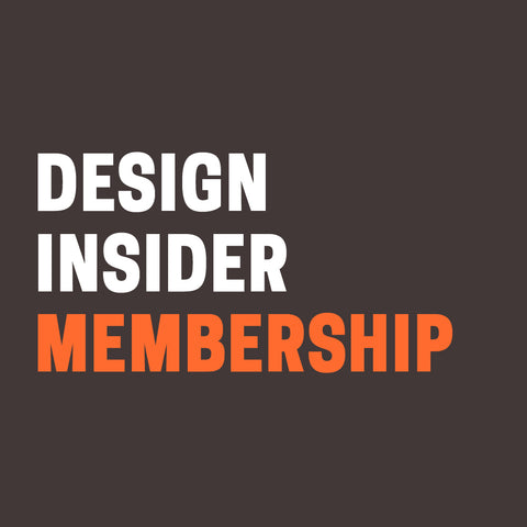 "Black background with ""Design Insider Membership"" in white and orange text."