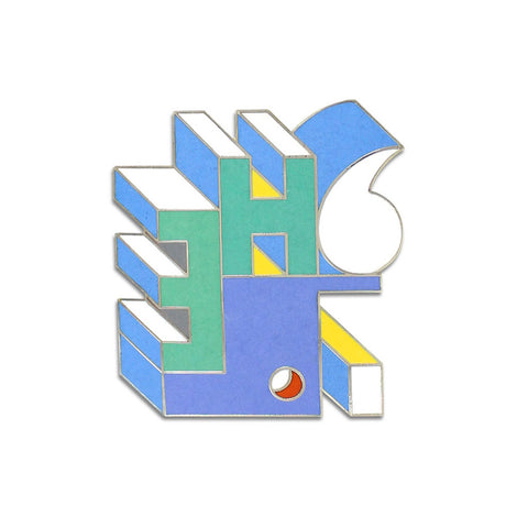 A brooch with an abstract image of alphabetic symbols in blue, purple, yellow, green, red details.