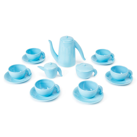 The glossy blue tea set includes a teapot, a milk saucer, a sugar bowl, and six cups with saucers.