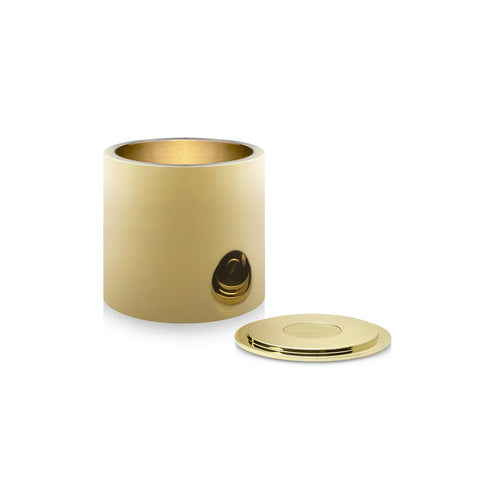 A small polished brass pot with a matching polished brass lid.