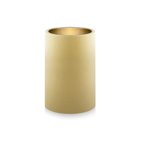 A tall, cylindrical  polished brass pot with straight sides and a flat bottom for storing stationery goods.