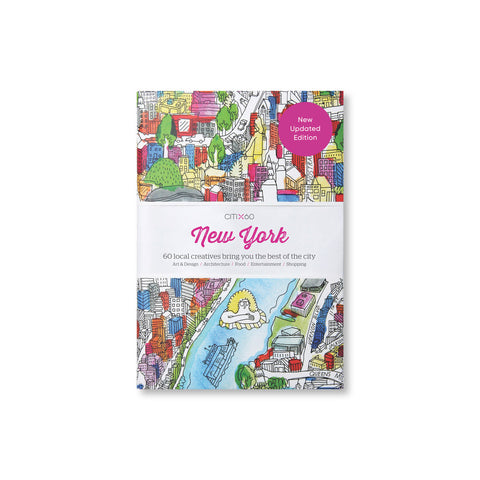 Book cover with central white band with pink and black title information surrounded by hand drawn and colored cityscape