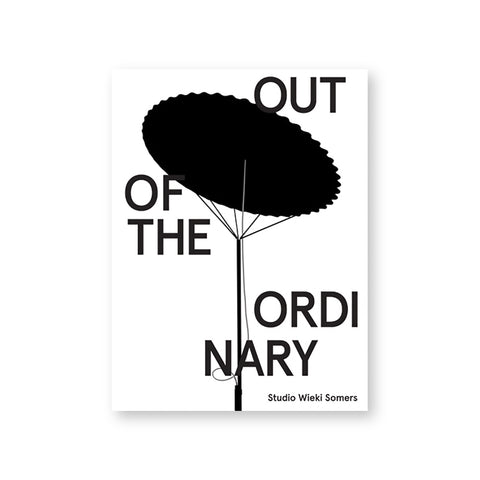White book cover with black silhouetted illustration of a scalloped disk raised by a delicate stand. Title written in gray sans serif capital letters scattered around illustration