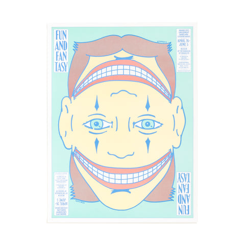 The poster features a clown face looking straight, his nose and mouth mirrored on the top of his head. Poster designed with pastel Nile green, yellow, red, and brown colors. The title of the exhibition and the supporting information are visible in four corners in blue font.
