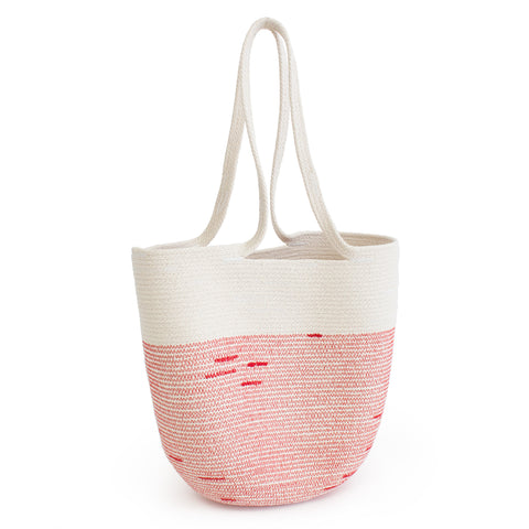 Natural colored medium-sized 100% cotton cord  shoulder bag with wide red stripe detail on border.