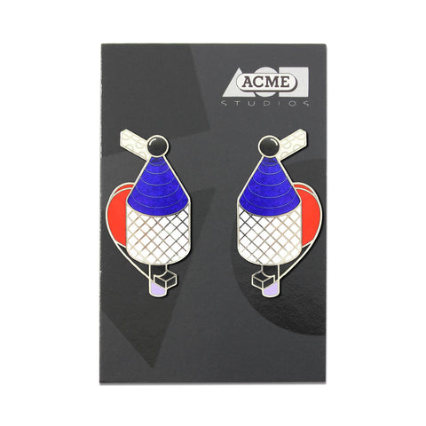 Pair of stainless steel earrings with enamel detailing. Enamel on the earrings are red, white, and blue. The earrings are similarly shaped like a vintage air pump or perfume bottle and include small graphic detailing throughout.