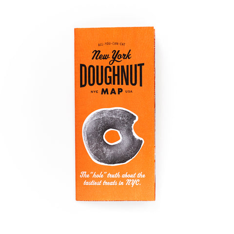 Orange cover with an image of a doughnut, titled New York Doughnut Map in black font.
