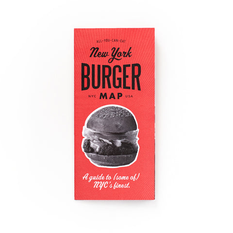 Red cover with an image of a burger, titled New York Burger Map NYC USA in black font.