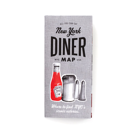 Grey Cover with an image of ketchup and salt jars, titled New York Dinner Map in black font.