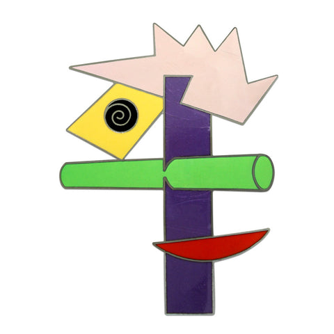 An abstract depiction of a face designed from a combination of geometrical shapes. The colors include yellow, black, purple, green, red, and soft pink.