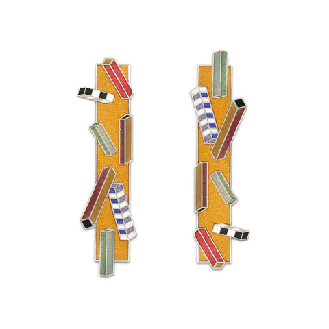 A pair of earrings with narrow rectangles inscribed with seven small colorful rectangles