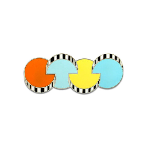 A flat silver brooch designed from four interlocking circles in orange, yellow and light blue colors.