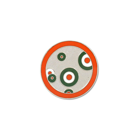 A disk with a red circular outlined, that frames six green and white circles
