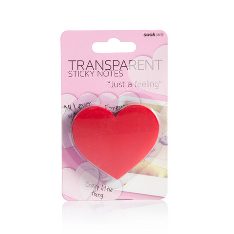 Pink  package, with black text, transparent, red, heart shaped sticky notes, stacked up, and held together with plastic cover.