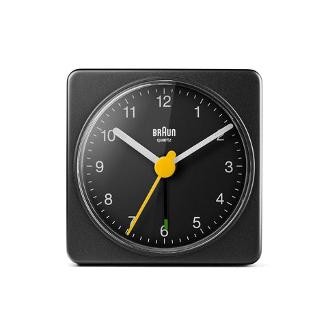 Black matte case and white dials with yellow second hand.