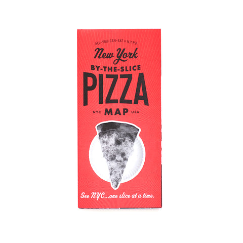 Red cover with an image of a pizza slice, titled New York By-The-Slice Pizza Map in black font.