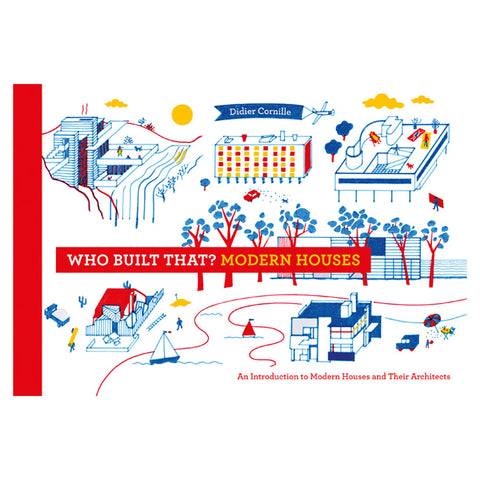 horizontal book cover with red spine and several illustrations of modern houses in yellow blue and red