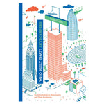 Tall book cover with blue spine and famous sky scrapers illustrated in blue green and red