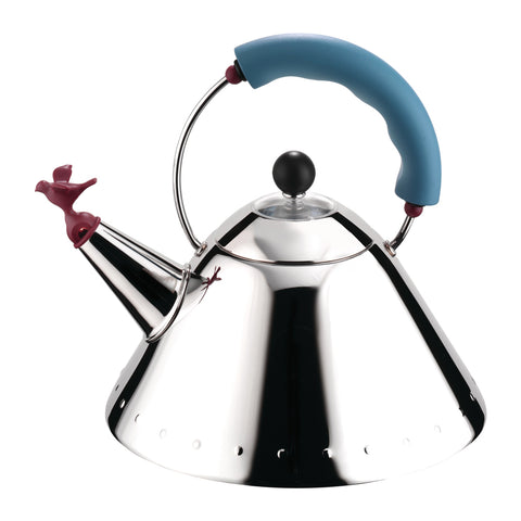 Side view of mirror-polished kettle with maroon colored bird whistle at the end of the spout and light blue handle and black sphere knob on its lid.