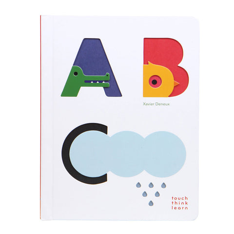 White book cover with colorful cut out letters with accompanying animals cloud and raindrops