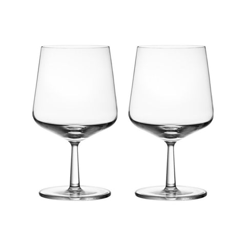 Pair of sturdy beer glasses with rounded bottoms, tapered stems and full wide-mouthed tapering bowls.