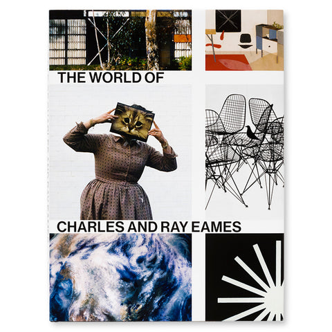Book cover with a grid of images of furniture photography and graphic design with white grid between the images that includes the title in black sans serif letters