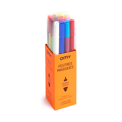 box of multi-colored markers in orange box