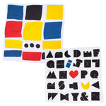 White organic cotton swaddles 2-Pack Set: Constructed alphabet with a black playful bold font with three letters in red, yellow, and blue; Assimetric composition of blue, yellow, red, and black squares with three black dots at the lower center.
