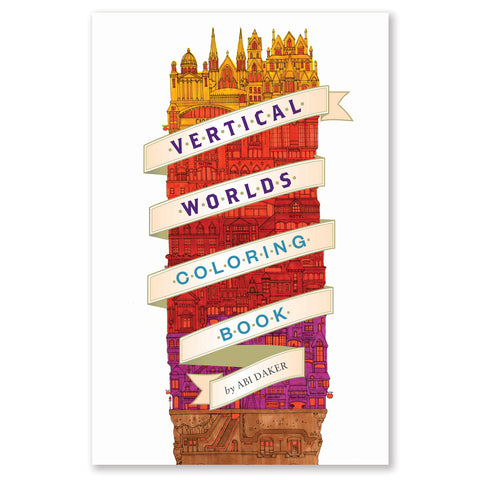 Oblong vertical book title with spiraling ribbon with book title around stacked illustrated buildings gradating from yellow to red to purple