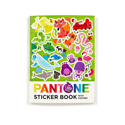 Bright colored book cover with stickers of animals, trucks, and figures on a green wood-like background