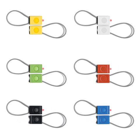 A photo of 6 pair bookman bike lights against a white backdrop.