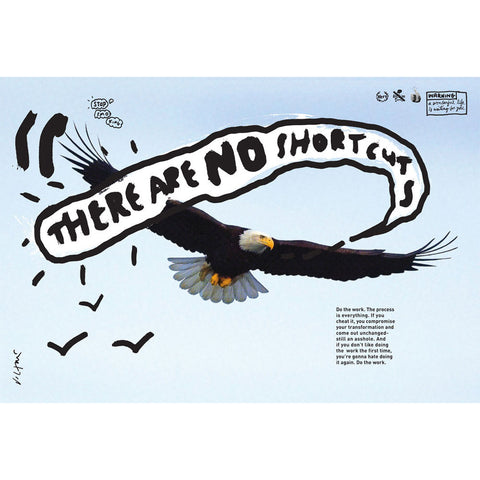 "A poster featuring a photo of an eagle in flight in a pale blue sky. Overlaid on the photo is a white cloud with black letters reading ""There are no shortcuts"""