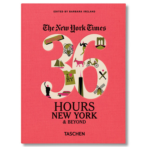 "Pink cloth book cover with number thirty six in white with charming green pink and black illustrations of new york landmarks. The words ""The New York Times"" in black gothic font above and the title in black serif font below"