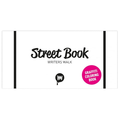 "White horizontal book cover with two black stripes on either end and a handwritten black title centered above pink dot that says ""Graffiti Coloring Book"""