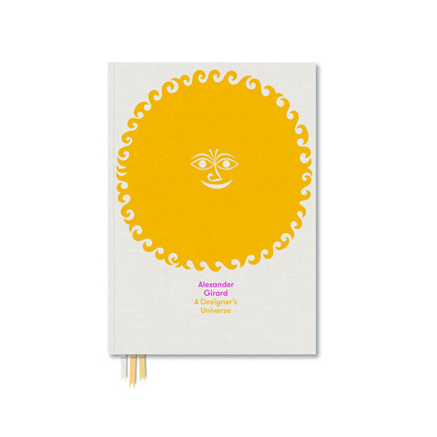 White book cover with large illustration of a sun with wave like rays and a smiling face above pink and yellow title information