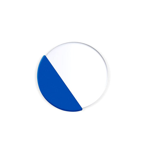 White circle, with a quarter of circle shaded deep blue.