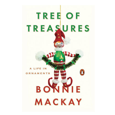 Cream colored book cover with a playful elf Christmas ornament hanging in the center with title information in green letters above and author in red letters below