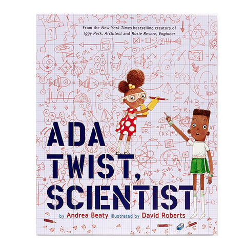Rectangular book cover with two medium dark skinned kids in front of a large graph writing surface with many sketches formulas and designs. One of the figures holds a pencil and is wearing a red and white polka dot dress and protective eyewear. Their expression is pensive but inspired. The other figure points to the wall with an awestruck expression