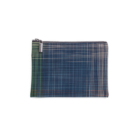 Zip pouch in primarily navy plaid pattern, woven with fourteen different colors for random look.