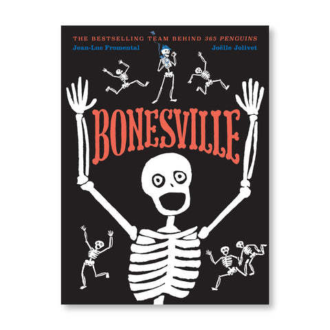 Black book cover with several illustrated white skeletons