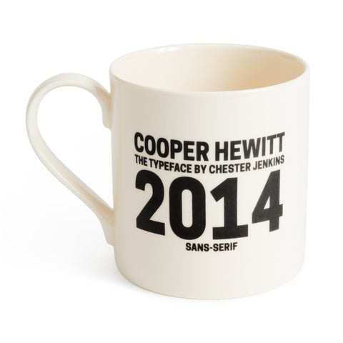"An off-white mug in Cooper Hewitt typeface reads ""Cooper Hewitt, The Typeface of Chester Jenkins, 2014, Sans-Serif"""