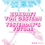 A book about visionary designs by future systems and archigram with pink blocky text on a blue and pink image of a ship