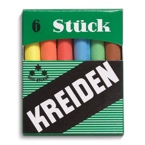 Green box with a set of six sticks of colorful chalk, and a black label with the logo in big and thick white text.