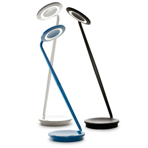 Lamp with round base, tall and long extended rod attached, with circular lamp light. Comes in white, black, and blue.
